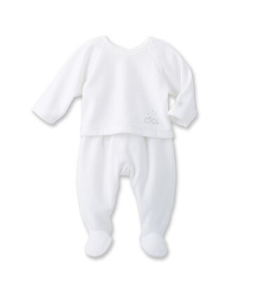 Coordinato bebé unisex coprifasce e ghettine bianco Ecume / grigio Gris