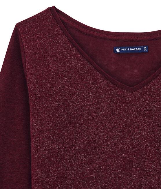 tee-shirtdonna maniche lunghe rosso Ogre / giallo Dore