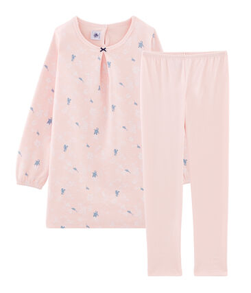 Camicia da notte a manica lunga con fantasia pinguino bambina in jersey double face rosa Minois / bianco Multico