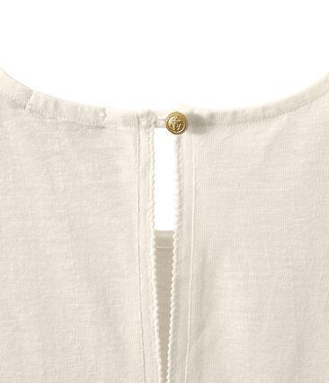 Top donna senza maniche in lino bianco Lait