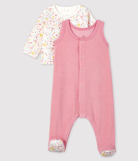 Completo 2 pezzi fiori rosa neonato in velluto rosa Charme / bianco Multico
