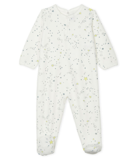 Tutina pigiama bebè maschio in ciniglia bianco Marshmallow / bianco Multico