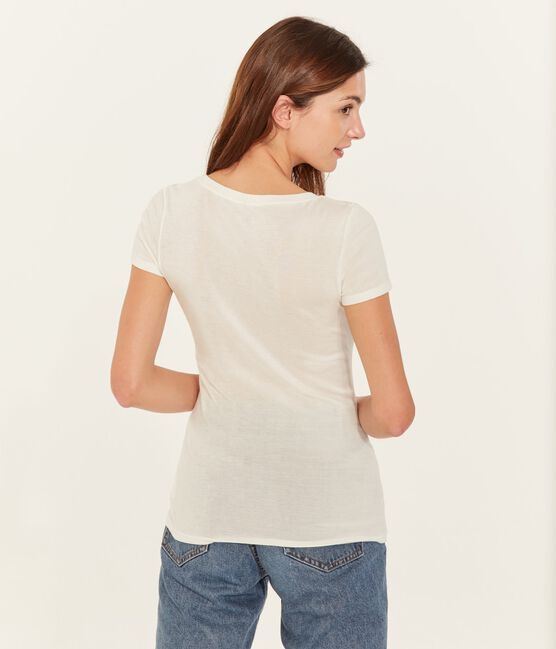 T-shirt a maniche corte con scollo a v donna bianco Marshmallow