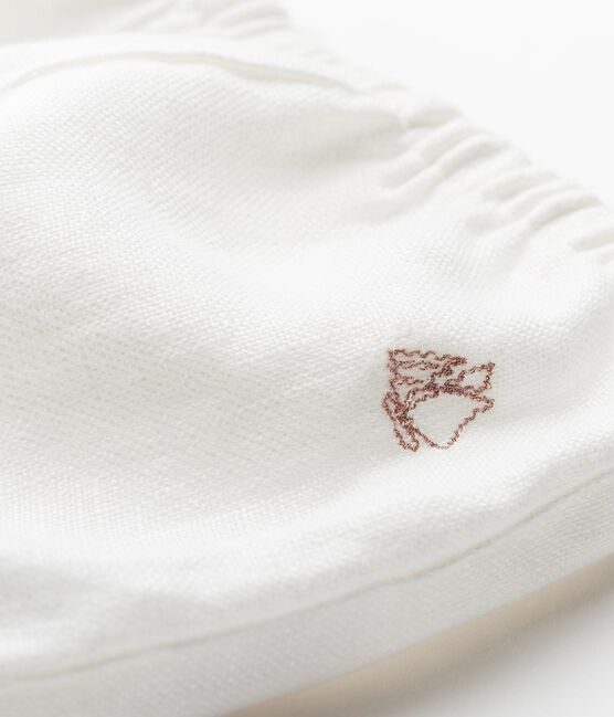Culotte bloomer bebè bambina in lino bianco Marshmallow Cn
