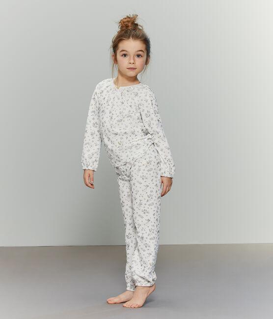 Pigiama bambina in ciniglia bianco Marshmallow / bianco Multico