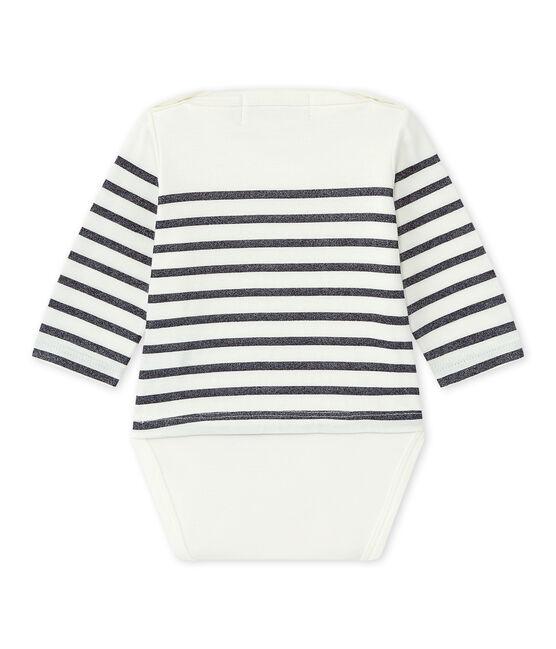 Questo Body marinière a maniche lunghe per bebé femmina bianco Marshmallow / blu Smoking