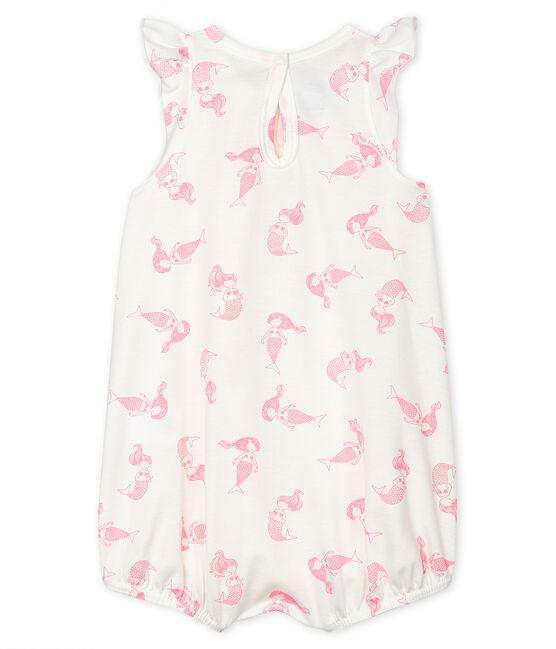 Tutina corta bebè femmina in jersey sottile bianco Marshmallow / rosa Rose