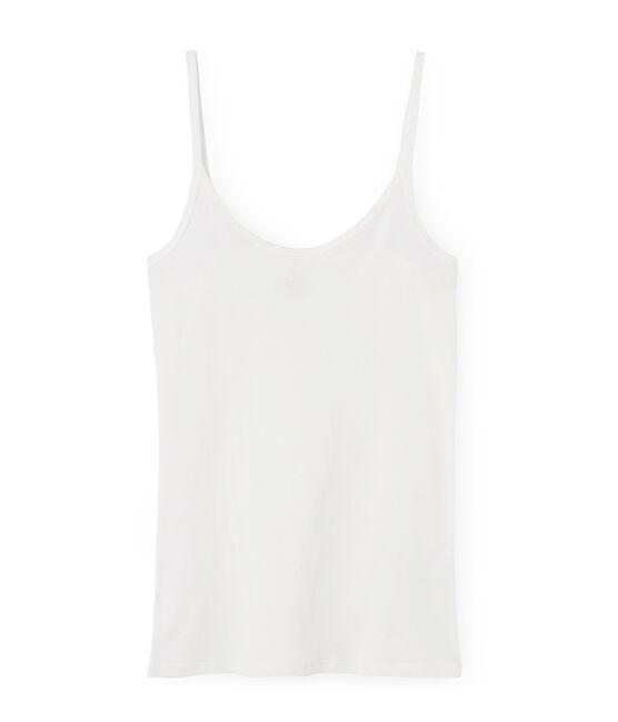 Canottiera con spalline donna in cotone leggero bianco Marshmallow