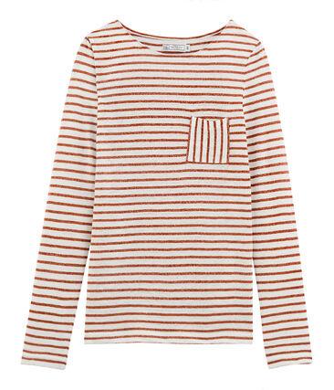 T-shirt maniche lunghe donna in lino bianco Marshmallow / rosa Copper