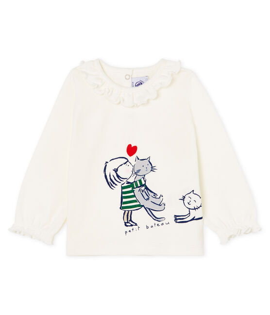 Blusa a manica lunga bebè femmina bianco Marshmallow