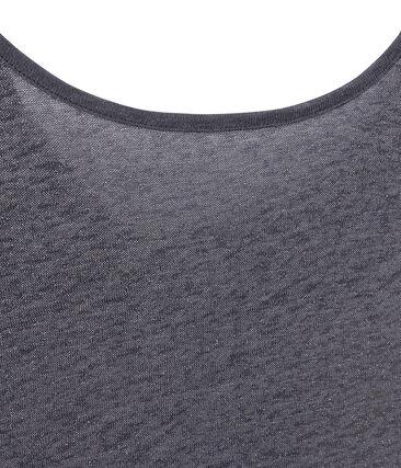 T-shirt donna con scollo ad acquasantiera sul retro in lino iridescente