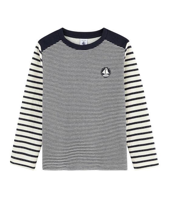 T-shirt a righe bambino blu Smoking / bianco Marshmallow