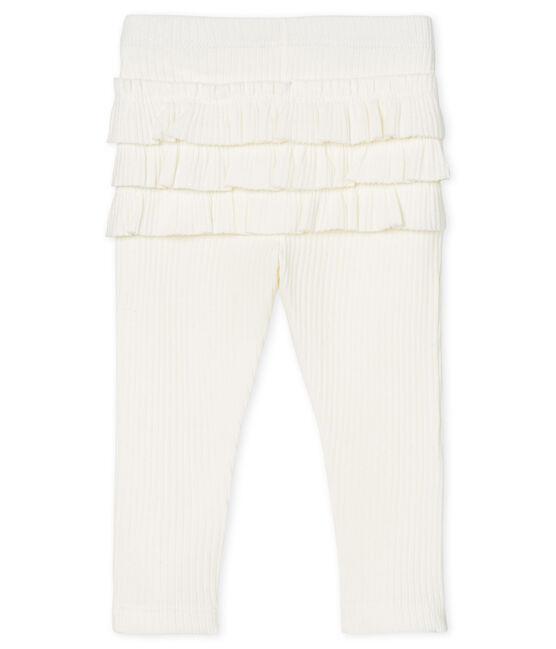 Leggings da bebè femmina con balze bianco Marshmallow