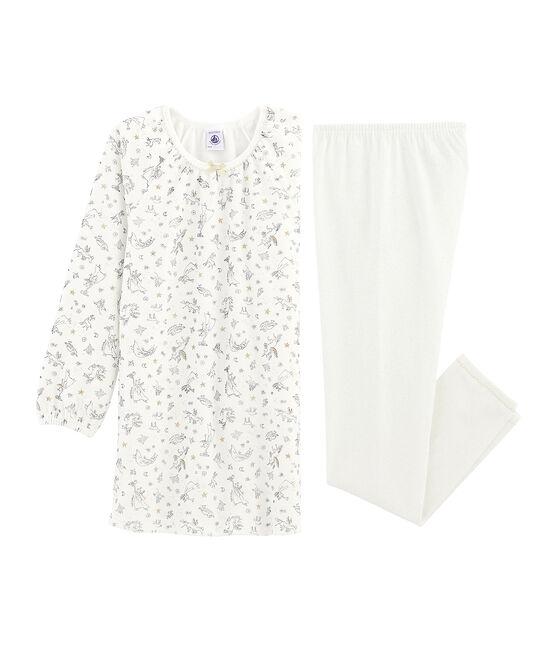 Camicia da notte bambina in velluto, con leggings bianco Marshmallow / bianco Multico