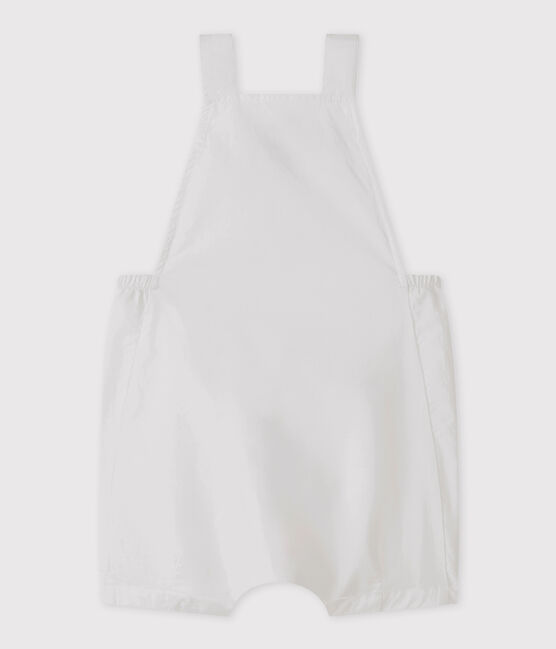 Salopette corta bebè maschio in lino bianco Marshmallow