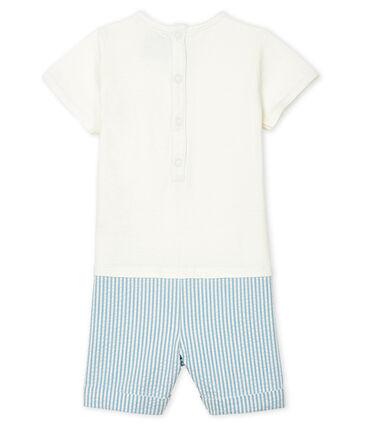 Tutina corta finto due pezzi bebè maschietto bianco Marshmallow / blu Acier