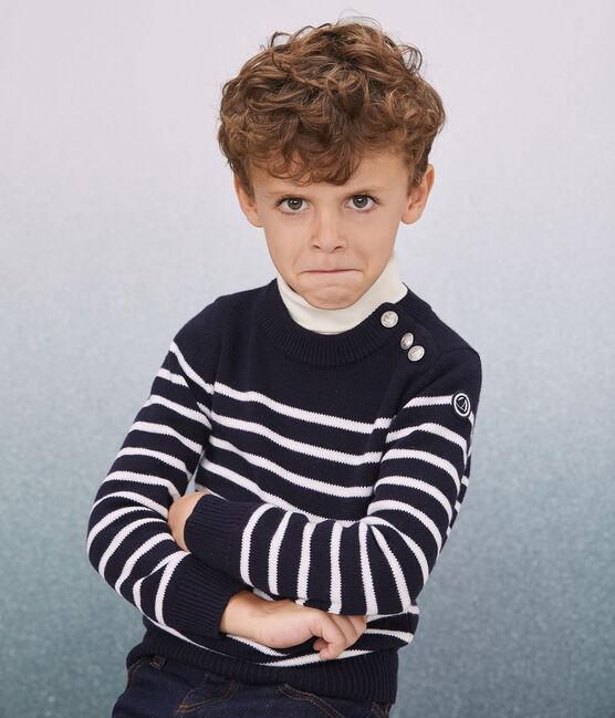 Pullover in lana e cotone bambino blu Smoking / bianco Marshmallow