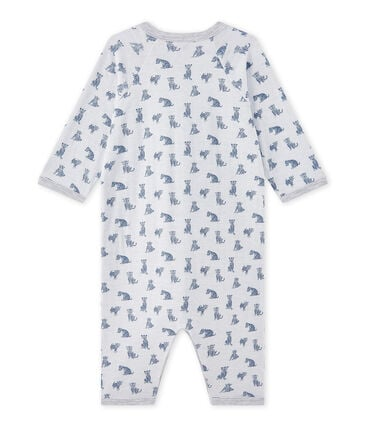 Tutina senza piedi bebè bambino in tubique bianco Ecume / bianco Multico