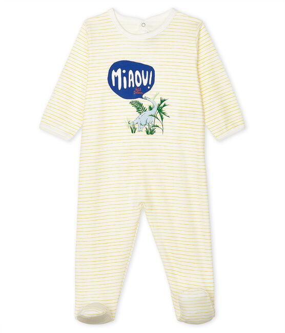 Tutina pigiama bebè maschio a costine bianco Marshmallow / giallo Shine