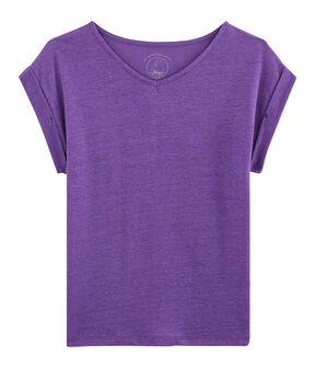T-shirt in lino donna viola Real