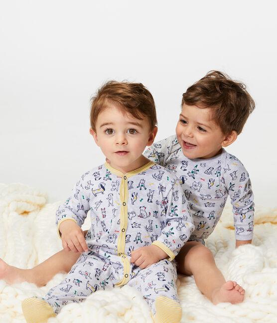 Tutina bebè maschio a costine grigio Poussiere / bianco Multico