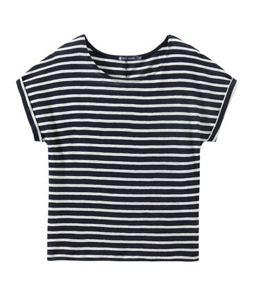 T-shirt donna in lino a righe blu Smoking / bianco Lait