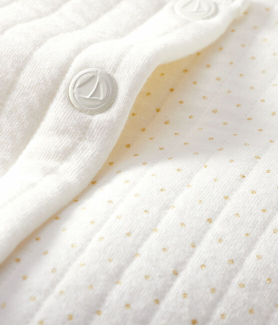 Cardigan bebè femmina in tubique trapuntato bianco Marshmallow