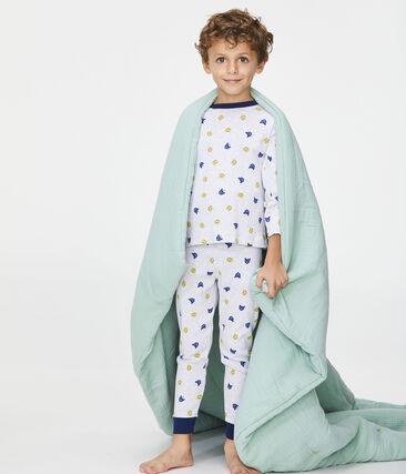 Pigiama bambino a costine grigio Poussiere / bianco Multico