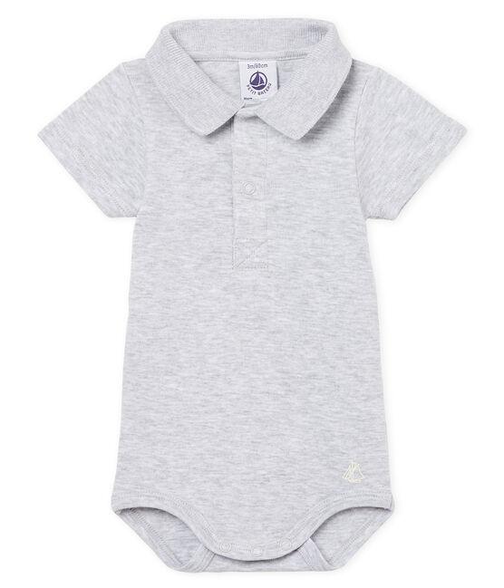 Body mc colletto polo neonato maschietto tinta unita grigio Poussiere Chine