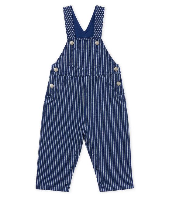 Salopette lunga in maglia rigata bambino blu Smoking / bianco Marshmallow