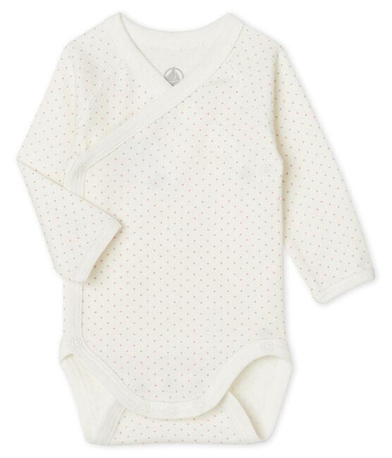 Body nascita manica lunga bebè bianco Marshmallow / rosa Charme
