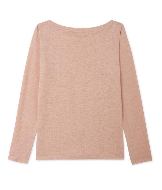 T-shirt donna a maniche lunghe in lino laccato rosa Rose / grigio Argent