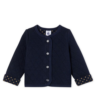 Cardigan bebè femmina in tubique trapuntato blu Smoking Cn