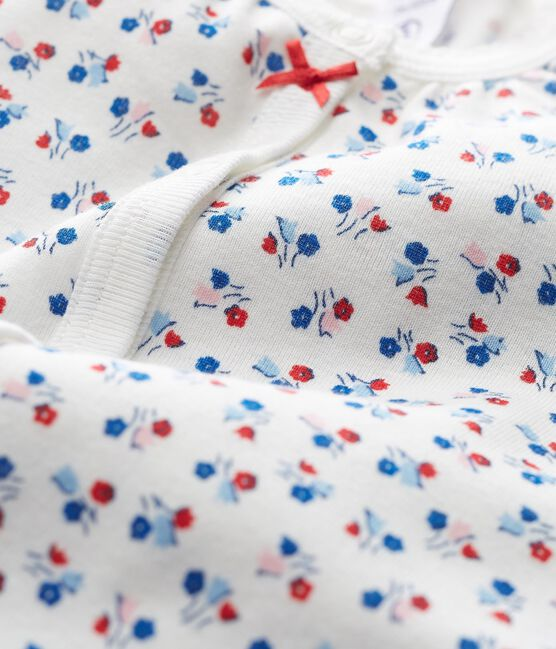 Tutina corta bebè bambina a costine bianco Marshmallow / bianco Multico Cn