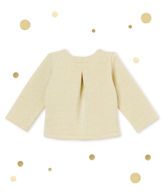Cardigan bebé femmina in molleton scintillante bianco Marshmallow / giallo Dore