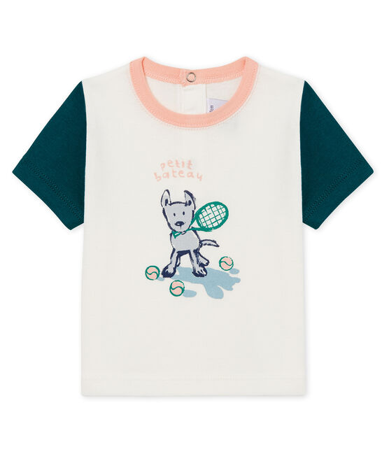 T-shirt mc bebè maschietto fantasia bianco Marshmallow / verde Pinede