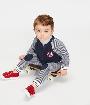 Pantalone bebè in tubique blu Smoking / bianco Marshmallow