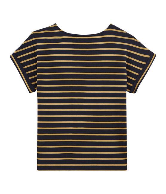 tee-shirtdonna maniche corte satine' blu Smoking / giallo Brindille Satin