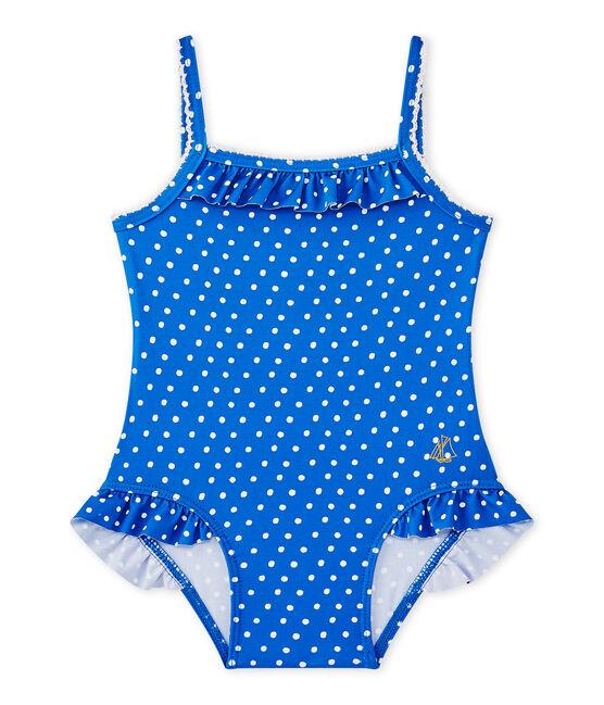 Costume da bagno bebé bambina a pois blu Perse / bianco Marshmallow