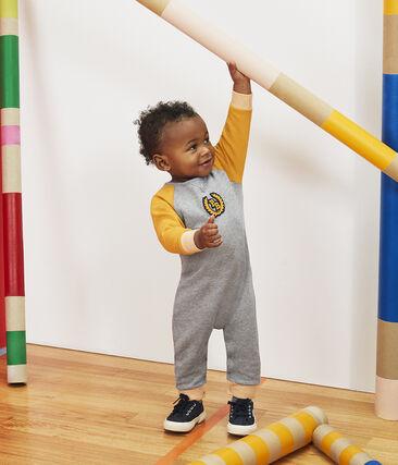 Tutina lunga da bebè maschio in molleton grigio Subway / giallo Boudor