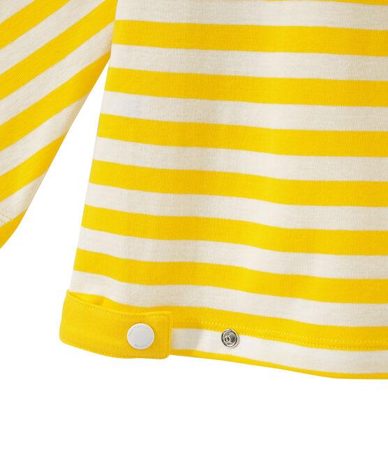 T-shirt donna maniche a 3/4 a righe giallo Shine / bianco Marshmallow