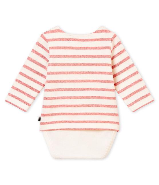 Body marinière luccicante per bebé femmina bianco Marshmallow / rosa Joli Brillant