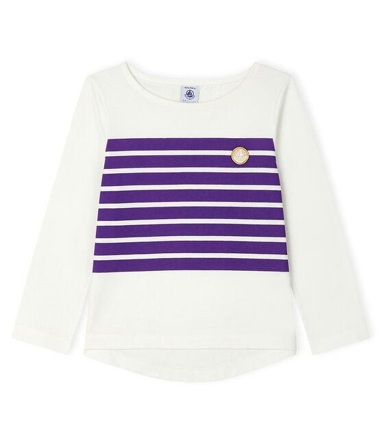 T-shirt bambina bianco Marshmallow / viola Real