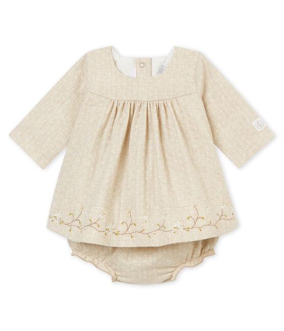 Abito e bloomer per bebé femmina beige Creamy Chine