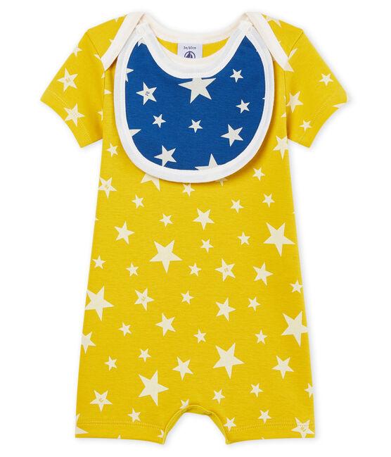 Tutina corta bebè bambino a costine giallo Honey / bianco Marshmallow Cn