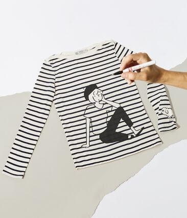 T-shirt marinière donna beige Coquille / blu Smoking