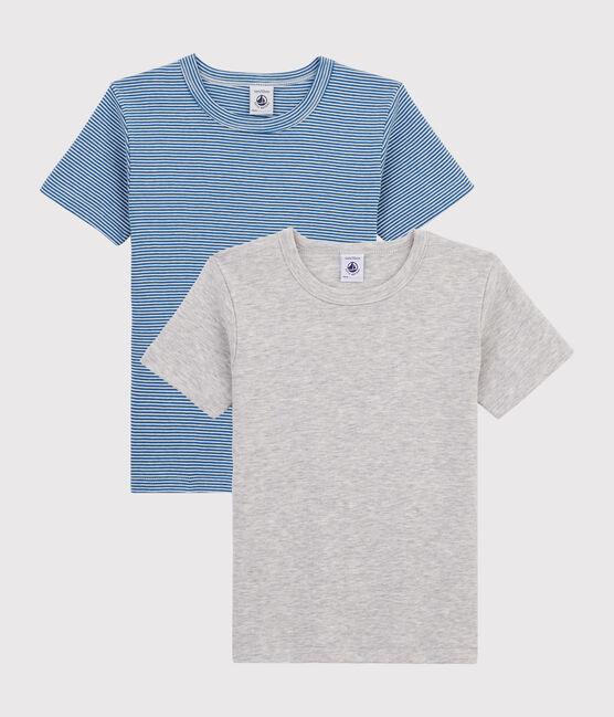 Confezione da 2 t-shirt manica corta millerighe bambino lotto .