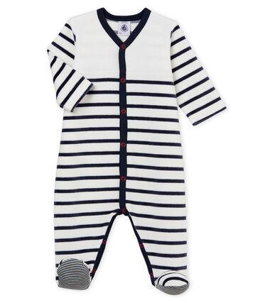 Tutina pigiama bebè in ciniglia bianco Marshmallow / blu Smoking