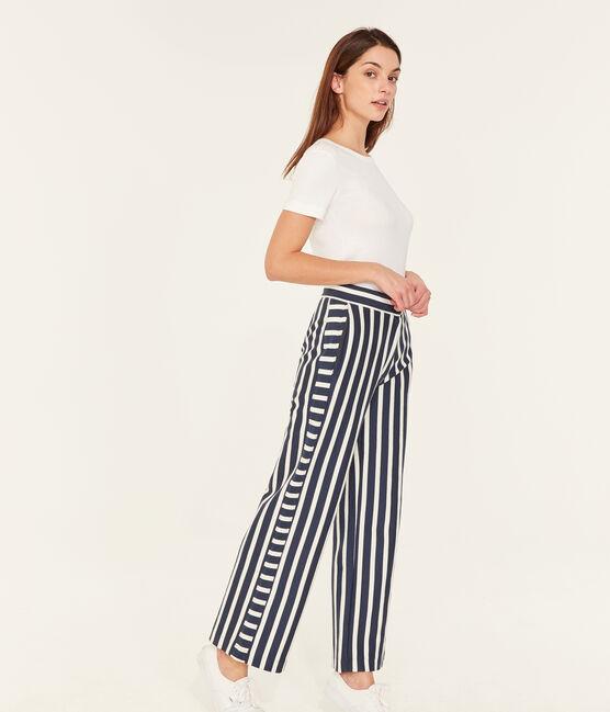 Pantalone donna blu Haddock / bianco Marshmallow