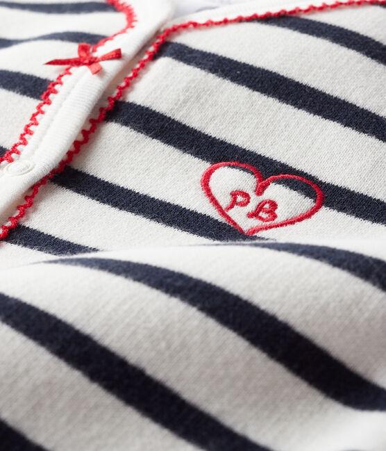 Tutina per bebé in molleton bianco Marshmallow / blu Smoking